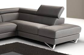 grey full leather modern sectional sofa w steel legs