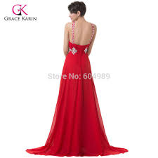 2017 grace karin backless long red evening dresses sequin