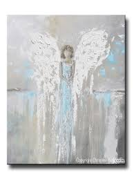 art abstract angel painting canvas print modern wall art blue grey giclee print abstract angel painting guardian angel girl spiritual gift grey blue home decor wall art