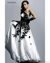 brautkleid schwarz weiss schwarz weißes ballkleid aus taft einzelschulterträger eleganter