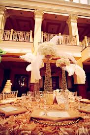 great gatsby centerpieces inspired wedding centerpiece gold with ivory feathers