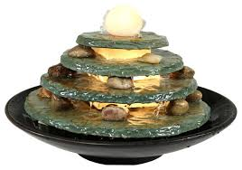 round multi level slate tabletop water fountain with led light 8