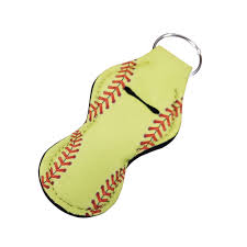 softball print neoprene chapstick holder
