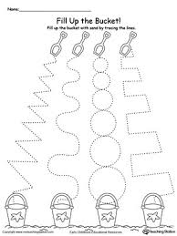 line pattern worksheet fill up the sand bucket by tracing the patterns myteachingstation com