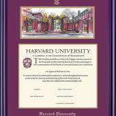 harvard diploma frame undergrad or grad diploma frame w lithograph