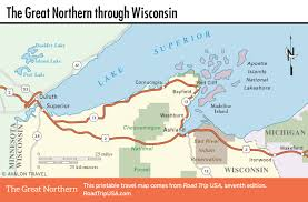 Wisconsin City Map by The Great Northern Route Us 2 Road Trip Usa