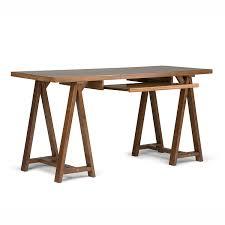 Solid Wood Desk Amazon Com Simpli Home Sawhorse Office Desk Medium Saddle Brown