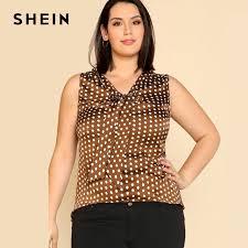 plus size blouse shein sleeveless polka dot plus size blouse neck asymmetrical