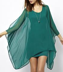 chiffon dress emerald green long sheer cape like sleeves