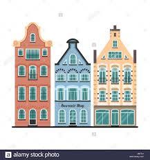 set of 3 amsterdam houses facades stock vector