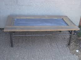 an upcycled oak u0026 zinc coffee table with tubular metal frame