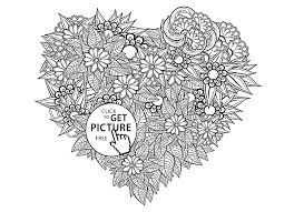 heart shaped pattern flowers coloring page for kids for girls