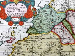 Canary Islands Map Sanson 1700 Antique Contemp Hand Col Map Morocco U0026 Canary