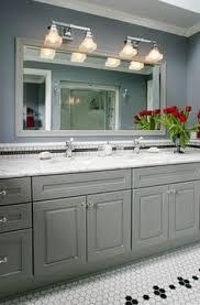Grey Bathroom Vanity by Casa Verde Design Bathrooms Benjamin Moore Vapor Trails