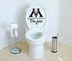 harry potter bathroom accessories amazon com ministry of magic this way harry potter toilet decor