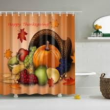 Halloween Bathroom Decor Happy Thanksgiving Shower Curtain With 12 Hooks Halloween Bathroom