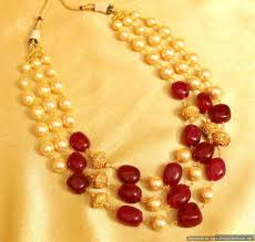 pearl beads necklace images Buy semi precious ruby and pearl gold beads necklace sanvi jewels jpg