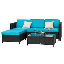 Rattan Wicker Patio Furniture - 5pc rattan wicker sofa set cushioned sectional outdoor garden