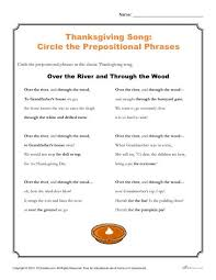 thanksgiving song activity printable prepositional phrases worksheet