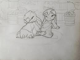 lilo and stitch sketch by marcusmccloud100 on deviantart