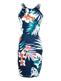 new style discount tropical floral print bodycon dress with cut