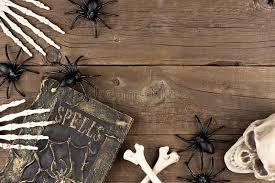 halloween decor corner border over rustic wood stock photo image
