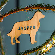 bamboo personalised pet christmas decoration hanging decorations