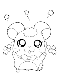 cute character of hamtaro coloring pages for kids cartoon