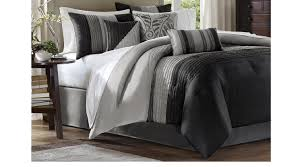 brenna black gray 7 pc queen comforter set