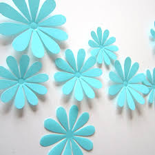 turquoise flowers 3d flower set turquoise wall stickers