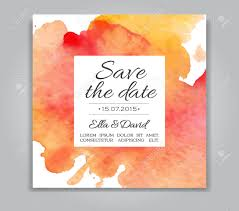 vector wedding invitation card with watercolor background