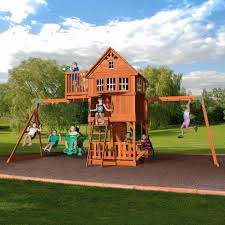 furniture backyard discovery oakmont cedar wooden playsets with