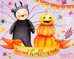 watercolor halloween clipart corn candy clipart kids clipart
