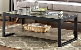 48 Urban Blend Coffee Table W Glass Top In Driftwood Black