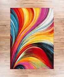 Abstract Area Rugs Multi Yellow Orange Swirl Lines Modern Geometric