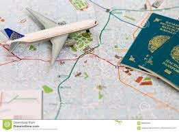trip map trip to italia passport plane and map of milan stock photo