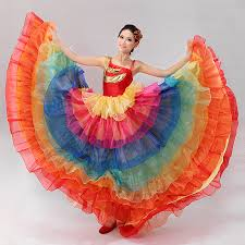 Halloween Costumes Spanish Dancer Rainbow Colorful Dance Costume Wear Spanish Bull Dance Dress