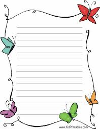 butterflies stationery printable lined writing paper
