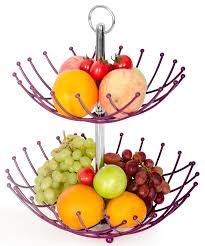 fruit holder fruit basket stand by luxe premium purple 2 tier
