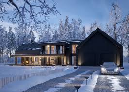 modern black winter house vis for lk projekt pl on behance