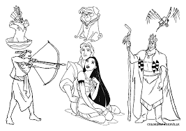 disney pocahontas and john smith coloring pages
