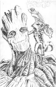 drawn racoon groot pencil and in color drawn racoon groot