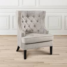 sears furniture kitchener simpli home kitchener tufted accent chair grey