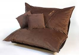 furniture brown upholstered bean bag chair with two cushion with