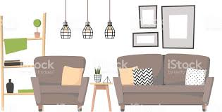 home interior paintings flat vector illustration home interior design cozy living room