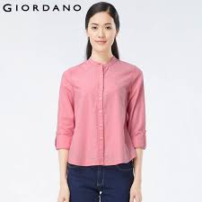 giordano women solid cotton shirt collarless blouses female oxford