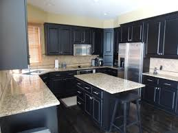 u shaped espresso kitchen cabinets with white island mixed brown