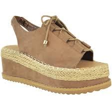 womens ladies espadrille flatforms wedge sandals lace up sling