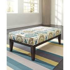 blue and green oval blackwatch plaid upholstered ottoman