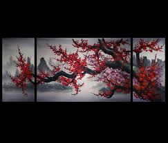 wall art design ideas mountain red colors chinese wall art mountain red colors chinese wall art painting trees three separated panels panoramic